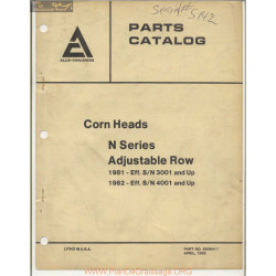 Allis Chalmers Corn Heads M Series Adjustable Row Parts Catalog