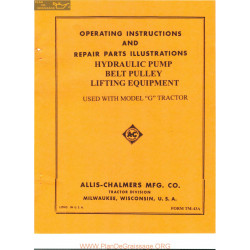 Allis Chalmers G Tractor Hydraulic Pump And Lifting Equipment Manual