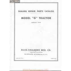 Allis Chalmers G Tractor Parts Book Manual 1954