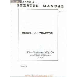 Allis Chalmers G Tractor Service Manual Manual