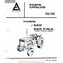 Allis Chalmers Tractoe Model 220 Parts Book