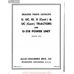 Allis Chalmers U Uc Iu 318 Tractor Parts Catalog Manual