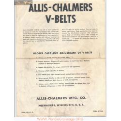 Allis Chalmers V Belts Form Number 517954