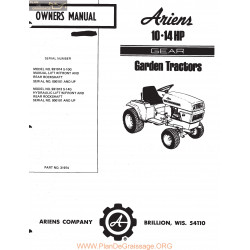 Ariens 10 And 14 Hp Gear Garden Tractors Owners Manual