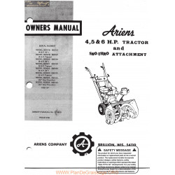 Ariens 4 5 6 Hp Tractor And Sno Thro Attachment Owners Manual