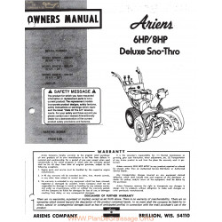 Ariens 6 And 8 Hp Deluxe Sno Thro Owners Manual