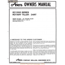 Ariens 831000 Series Model 831006 34 Inch Rotary Tiller Owners Manual
