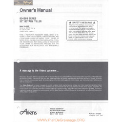 Ariens 834000 Series Rotary Tiller Owners Manual 1983
