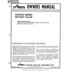 Ariens 835000 Series Rotary Tiller Owners Manual 1983