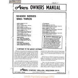 Ariens 924000 Series Sno Thros Owners Manual 1974