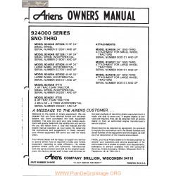 Ariens 924000 Series Sno Thros Owners Manual 1978