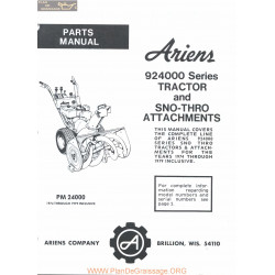 Ariens 924000 Series Tractor And Sno Thro Attachments Part Manual 1979