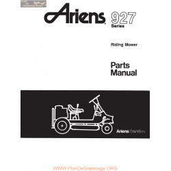 Ariens 927 Series Riding Mower Parts Manual