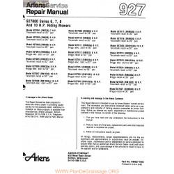Ariens 927000 Series 6 7 8 And 10 Hp Riding Mowers Service Repair Manual