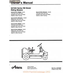 Ariens 927000 Series Riding Mowers Owners Manual 1982