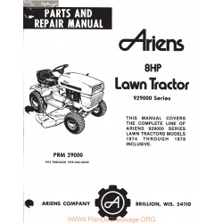 Ariens 929000 Series 8 Hp Lawn Tractor Parts And Repair Manual