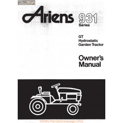 Ariens 931 Gt Hydrostatic Garden Tractor Owners Manual
