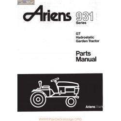 Ariens 931 Gt Hydrostatic Garden Tractor Parts Manual