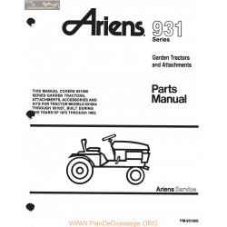 Ariens 931 Series Garden Tractors And Attachments Parts Manual