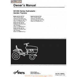 Ariens 931000 Series Hydrostatic Garden Tractors Owners Manual