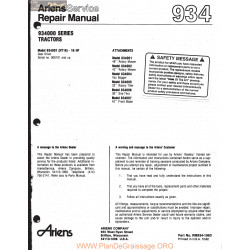 Ariens 934000 Series Tractors Repair Manual