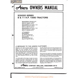 Ariens 93500 8 And 11 Hp Yard Tractors Owners Manual