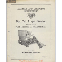 Bearcat Auger Feeder Model Af 8 Operators Manual