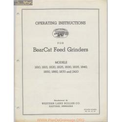 Bearcat Feed Grinders Models 1800 Series And 2410