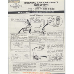 Briggs And Stratton 270029 8 61 Operating And Maintenance Instructions