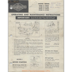 Briggs And Stratton 27920 120 Operating And Maintenance Instructions