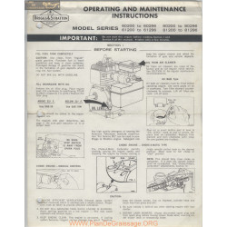 Briggs And Stratton 27996 9 61 Operating And Maintenance Instructions