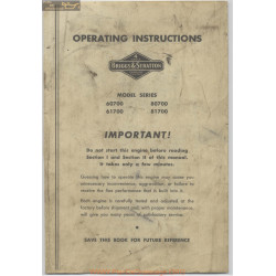 Briggs And Stratton 60700 80700 61700 81700 Operating Instructions
