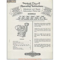 Briggs And Stratton B Models Operating Instructions