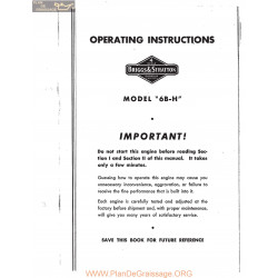 Briggs And Stratton Model 6bh Engine Operating Instructions