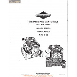 Briggs And Stratton Model Series 130900 132900 And 131800 Motors Operating And Maintenance Instructions