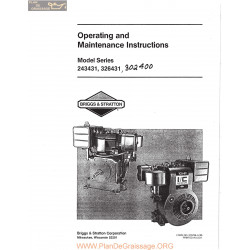 Briggs And Stratton Model Series 243431 326431 And 302400 Operating And Maintenance Instructions