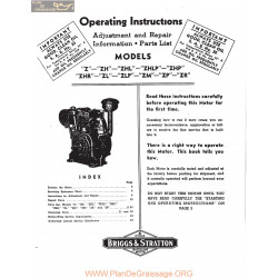 Briggs And Stratton Model Series Z Operating Instructions