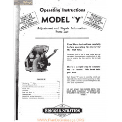 Briggs And Stratton Model Y Motor Operating Instructions