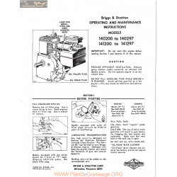 Briggs And Stratton Models 140200 To 140297 And 141200 To 141297 Operating And Maintenance Instructions