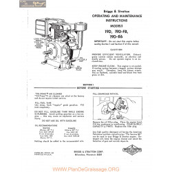 Briggs And Stratton Models 19d 19dfb 19dr6 Engine Operaing And Maintenance Instructions