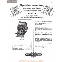 Briggs And Stratton Models N Np Nr Motors Operating Instructions