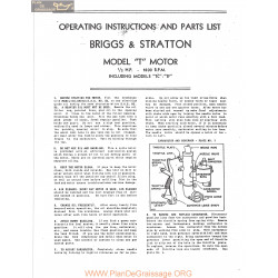 Briggs And Stratton Modelt Tc Tf Motors Operating Instructions And Parts List