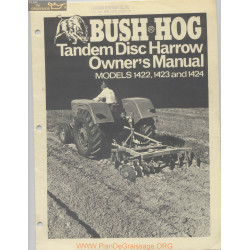 Bush Hog 1422 1423 1424 Owner Manual March 1978