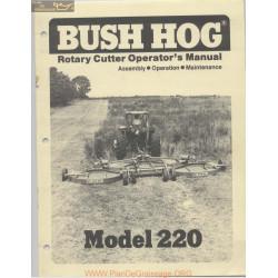 Bush Hog 220 July Operator Manual 1976