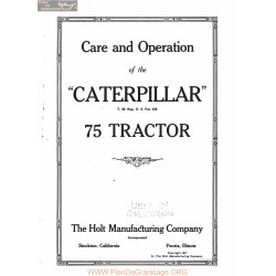 Caterpillar 75 Tractor Care And Operation