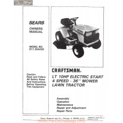 Craftsman Lawn Tractor 10hp 917 254220 Owners Manual