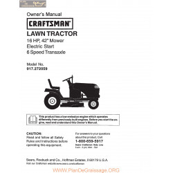 Craftsman Lawn Tractor 16hp 917 272059 Owners Manual
