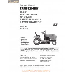 Craftsman Lawn Tractor 19hp 917 270813 L0809578 Owner Manual