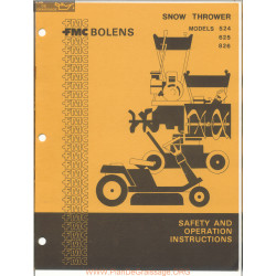 Fmc Bolens Models 524 625 And 826 Snow Thrower Safety And Operation Instructions