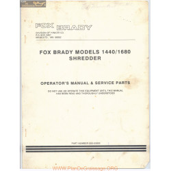 Fox Brady Shredder Models 1440 1680 Operators Manual 1988